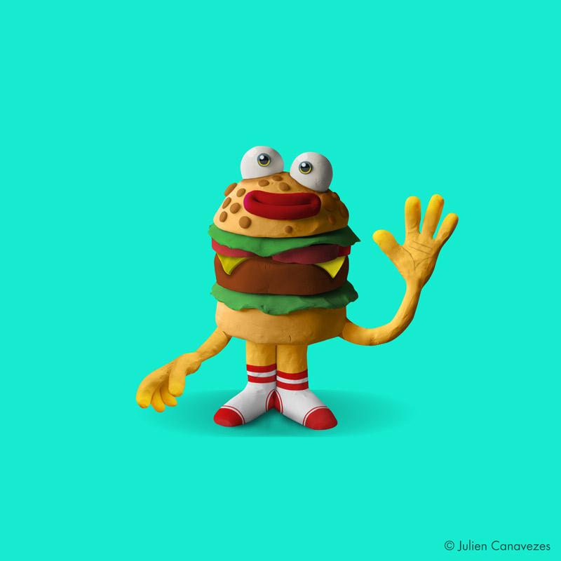 burger character design plasticine