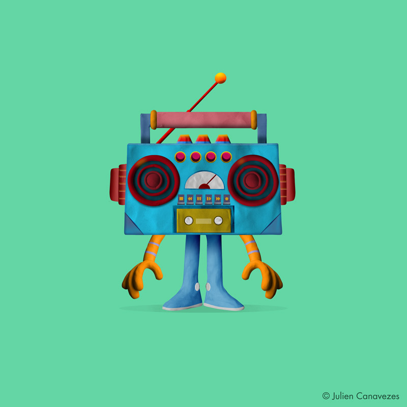 ghetto blaster character design