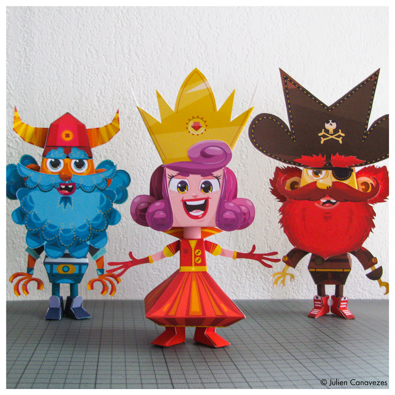 pirate, princess and vinking paper toys