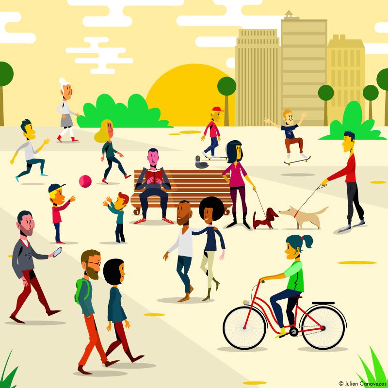 illustration de personnage dans la ville faisant des activités marche et vélo