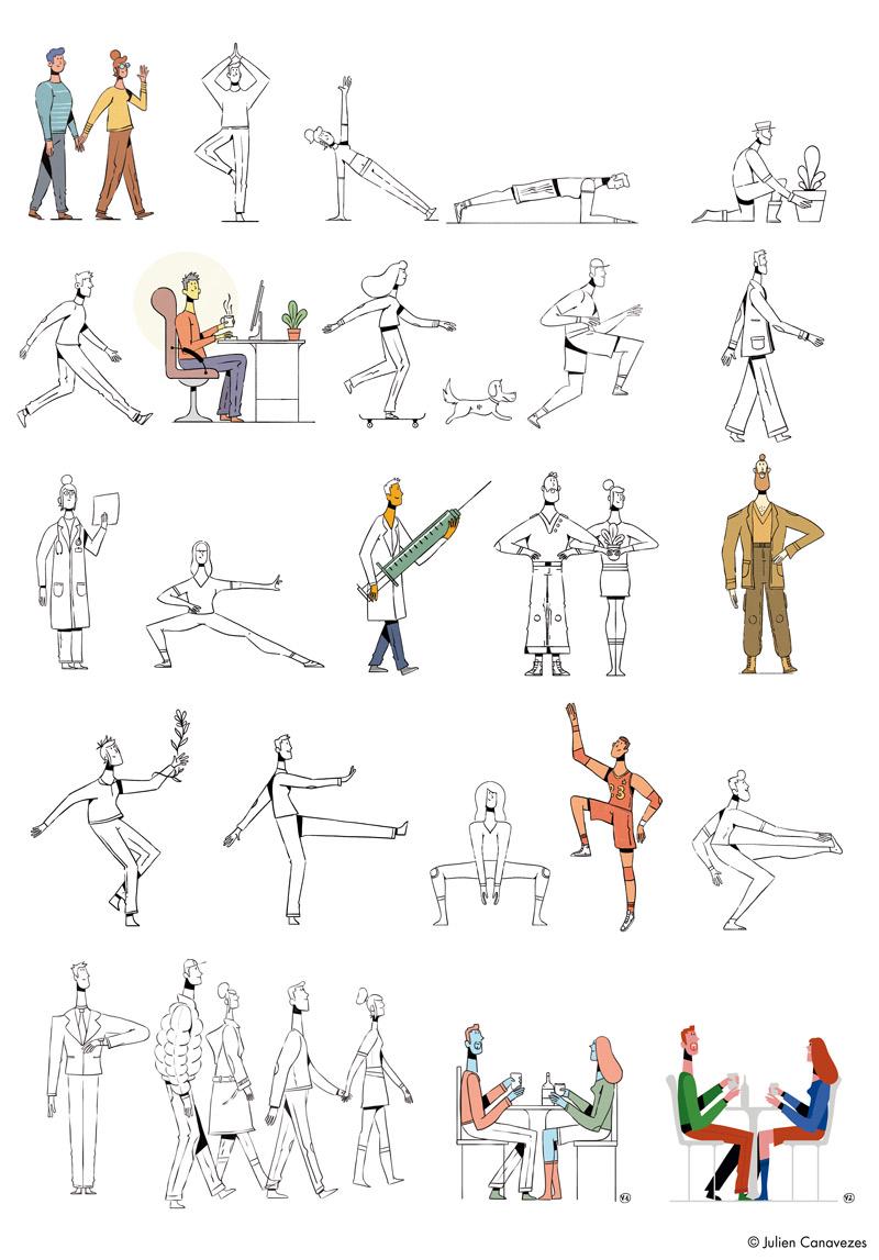 illustration de silhouette de personnage en position