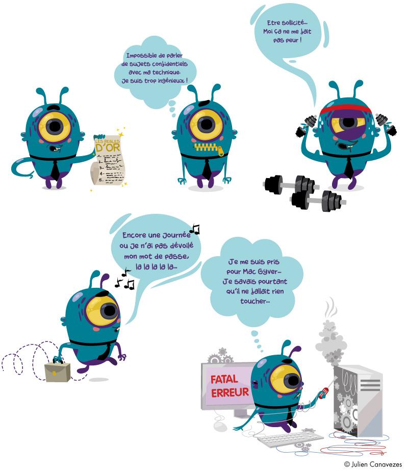 illustration cyber-malveillance dessin saynète