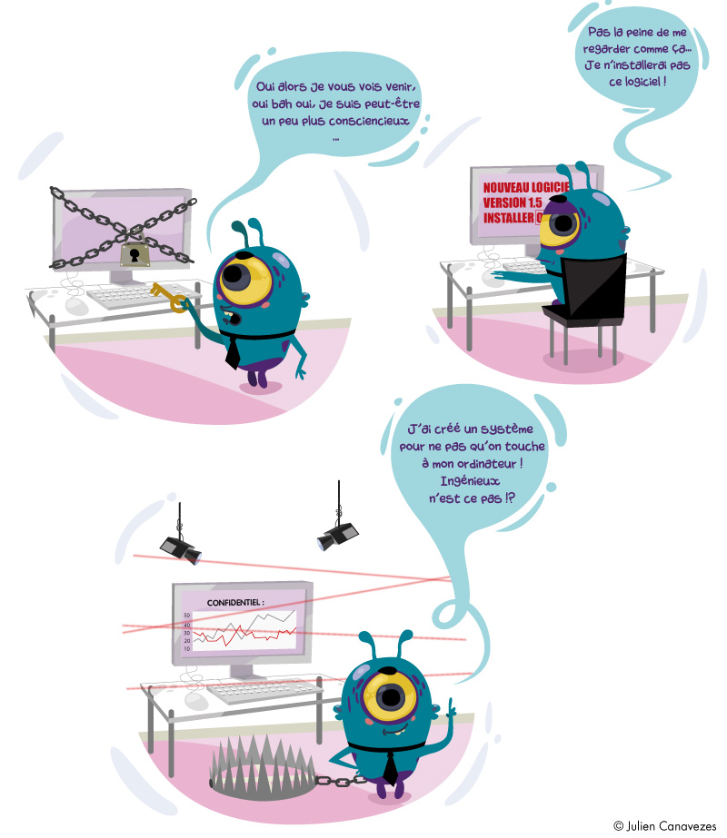 dessin illustration anti-virus cheval de troie