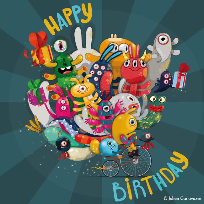 carte de monstres souhaitant un joyeux anniversaire
