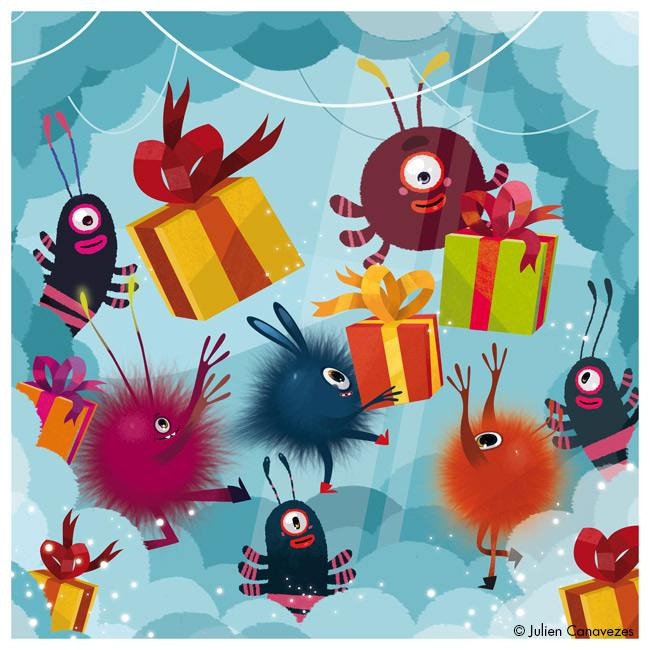 illustrateur carte cadeaux