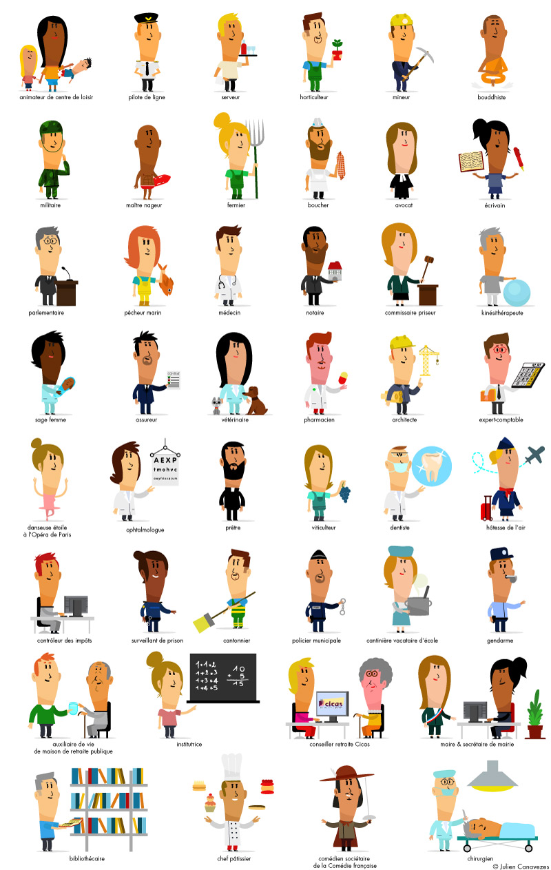 cartoon character professions