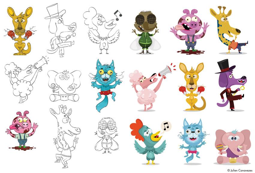 illustration cartoons animals