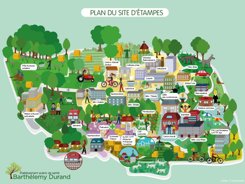 Illustration de map et plan de ville des sorties et activités