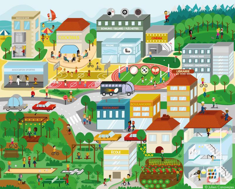 dessin d'un ville vectoriel illustrator