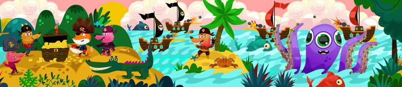 wall illustration of piracy illustration