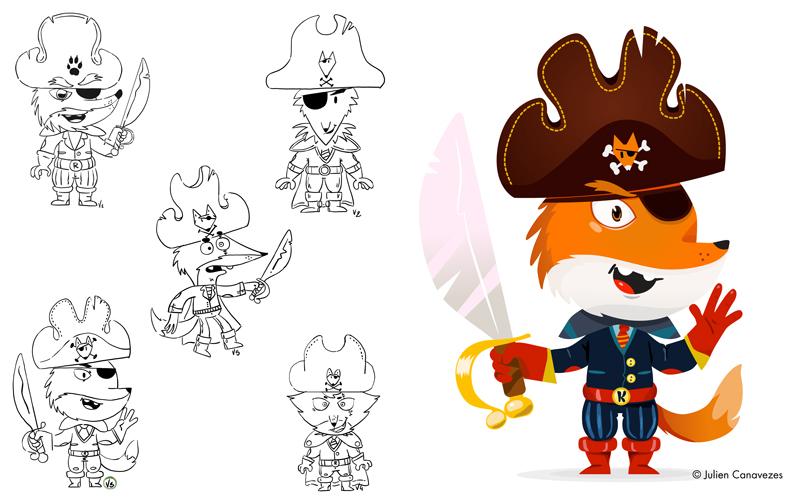 illustration fox mascot pirat