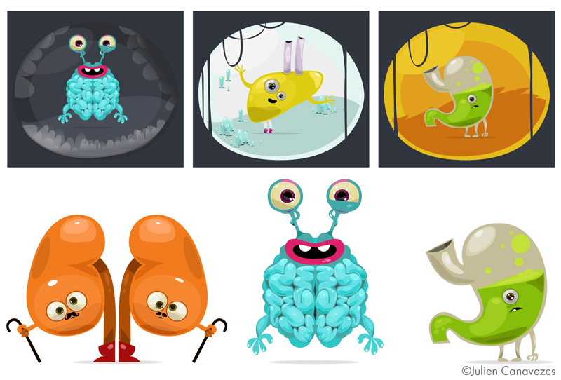 Illustration pédagogique médicale, personnages représentant des organes