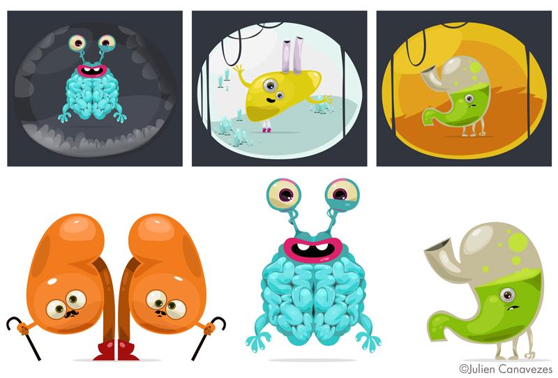 Medical educational illustration, characters representing organs