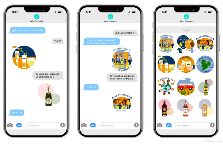 Application mobile stickers Pernod Ricard messager