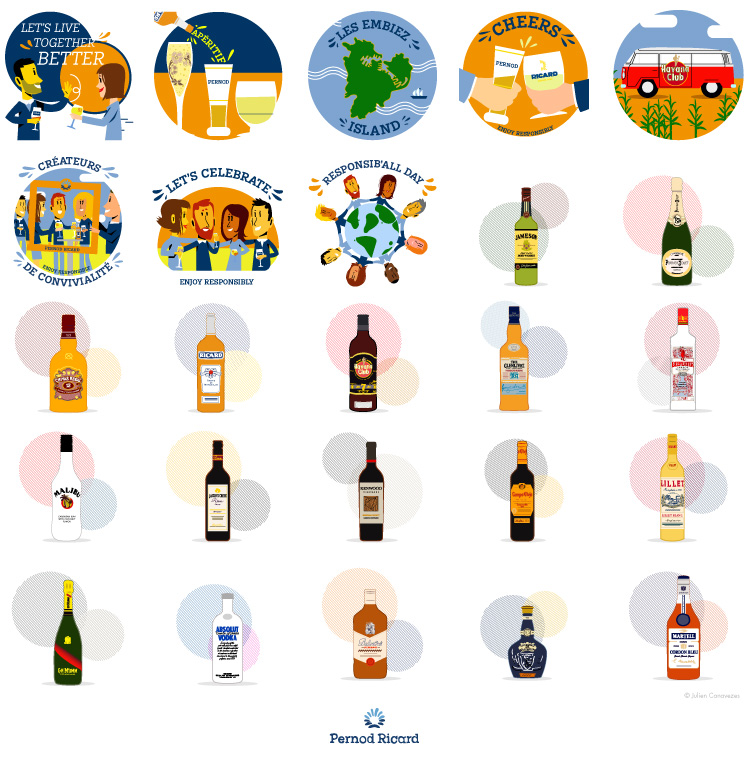 Illustration de stickers pour Ricard de Pernod Ricard