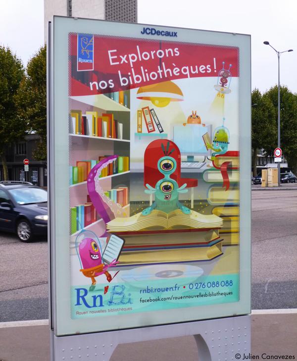 Mise en place des affiches dans la ville de Rouen