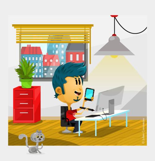 Lillustrateur Freelance Dans Son Bureau