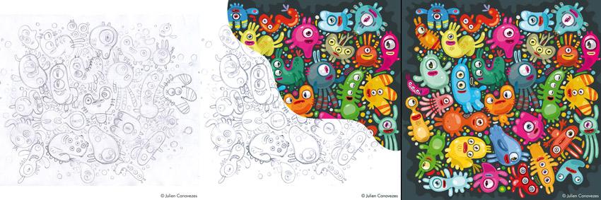 illustration terminée, monstres en couleurs