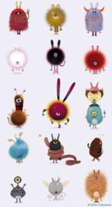 monstre poilu et boule de poile