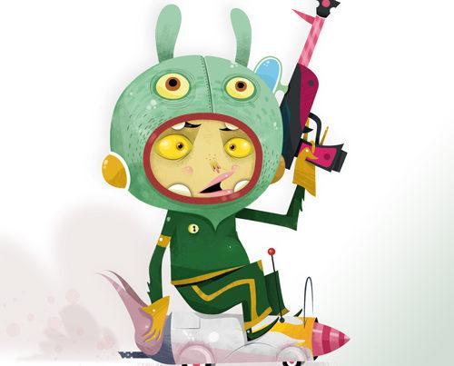 enfant fusée et pistolet à eau