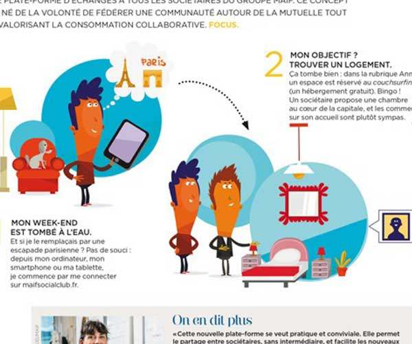 Illustrations de communication saynètes pour la MAIF