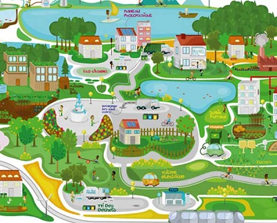 Illustration about recycling and green city