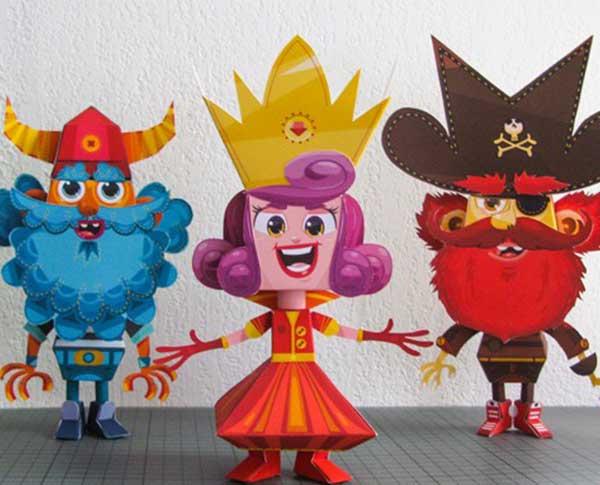Paper toys sur le thème pirate viking et princesse