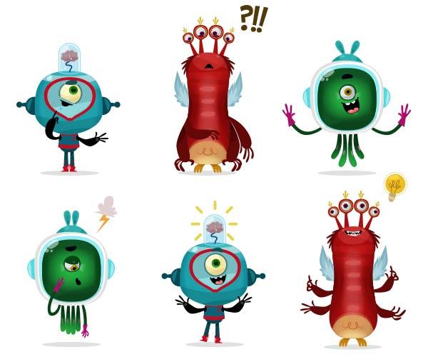 Dessin de mascottes jeu ludo-éducatif