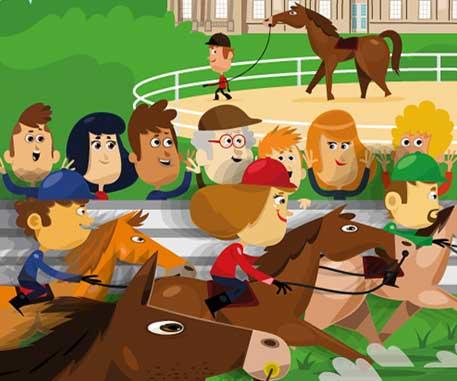 Affiche illustrée course de chevaux