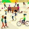 saynète mettant en avant personnages, couples, vélos , animaux